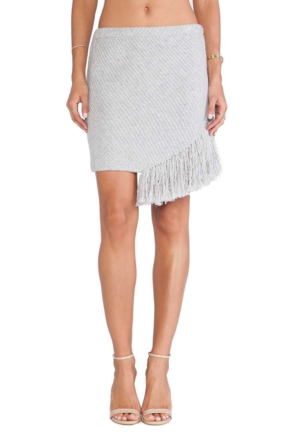 Thakoon Addition Fringe Skirt in Grey Melange