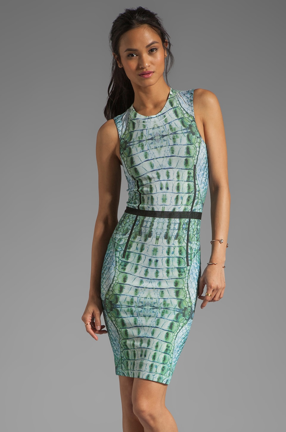 Thatcher Trace Sleeveless Dress in Croc Skin