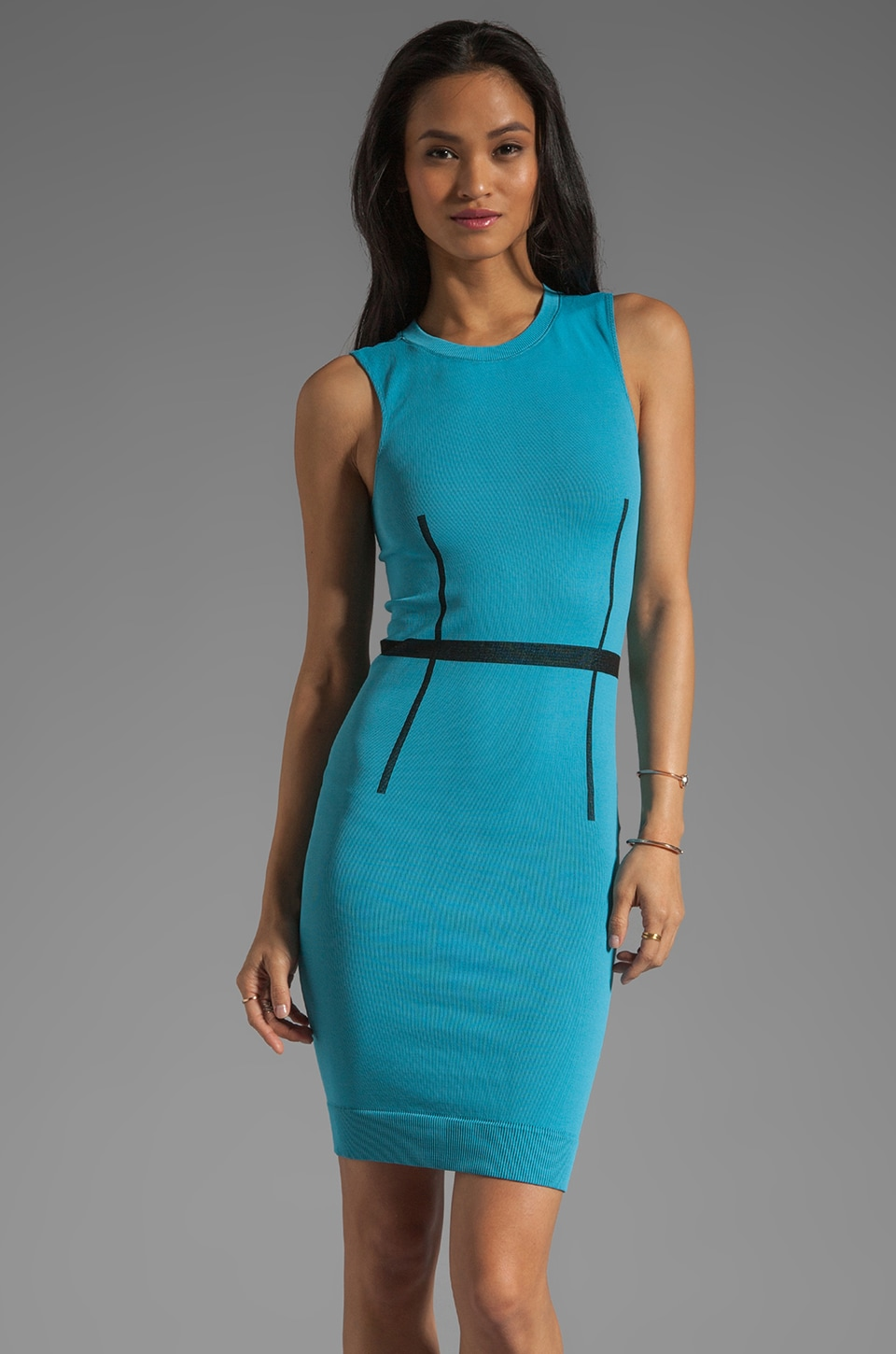 Thatcher Trace Sleeveless Dress in Azul