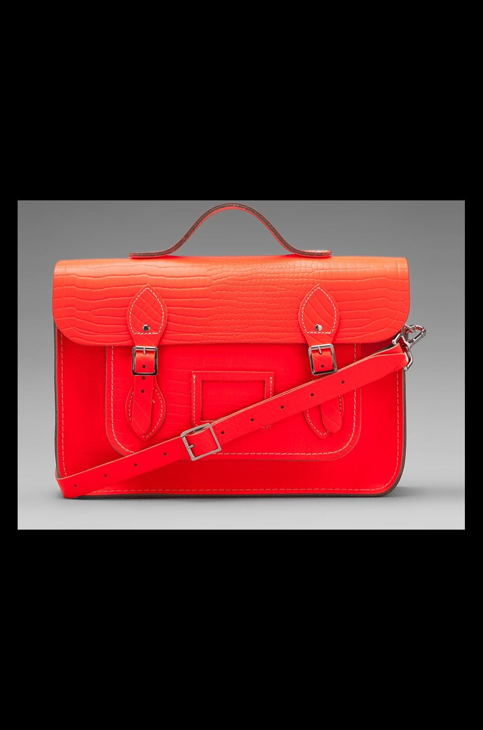The Cambridge Satchel Company Embossed Stamp Satchel in Fluoro Red