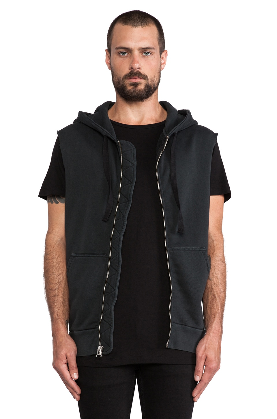 THE/END Sleeveless Hood in Black