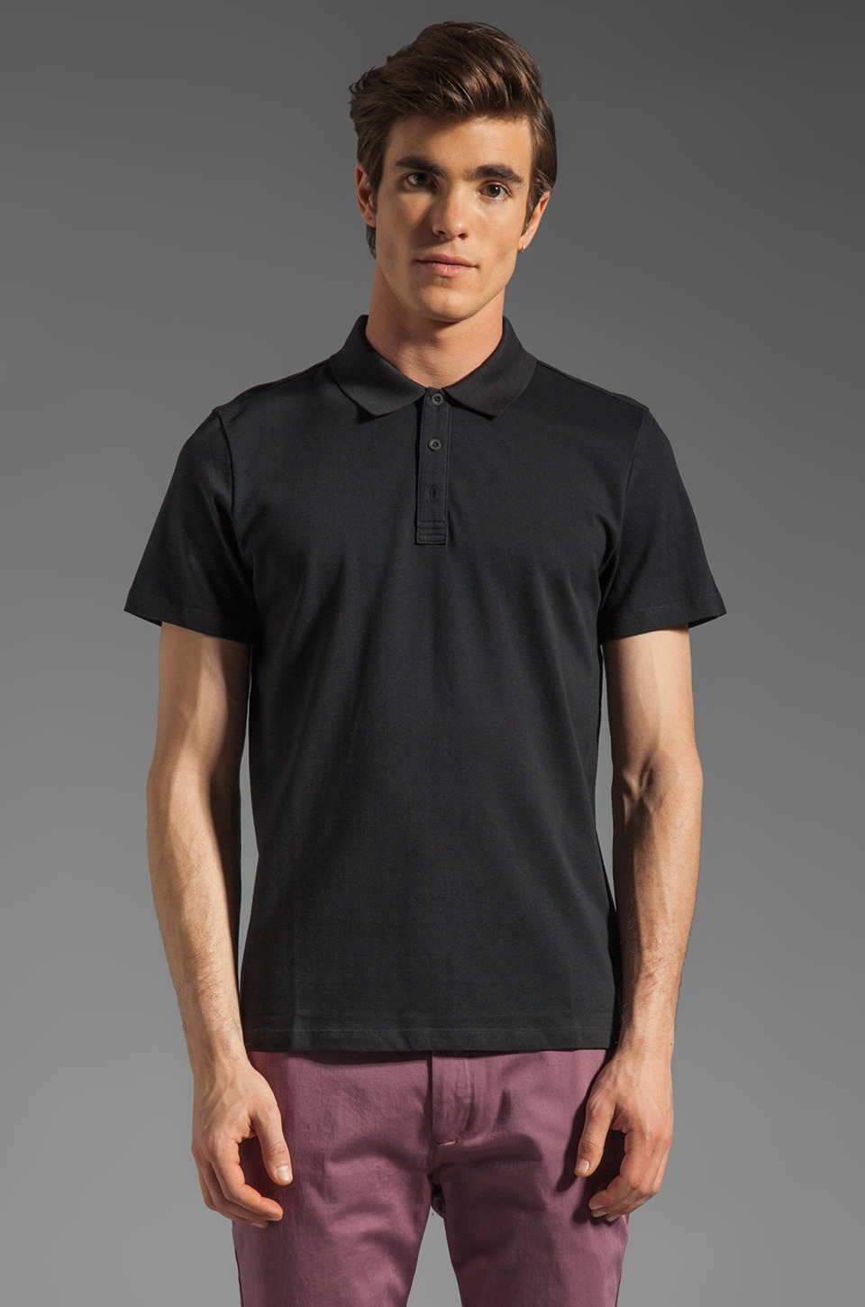 Theory Leopold NC. Classic Pique Polo in Black