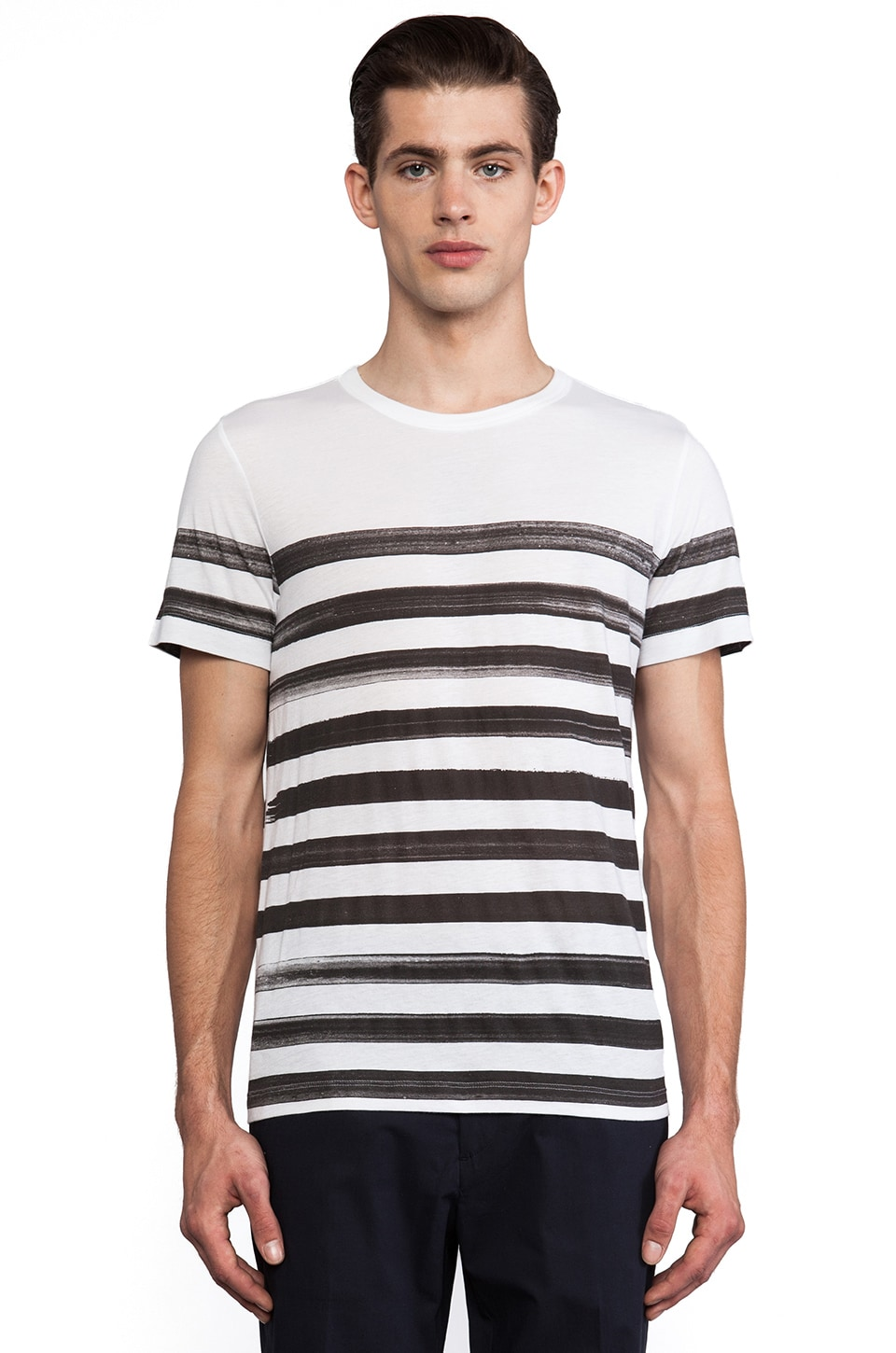 Theory Andrion Stripe Tee in White