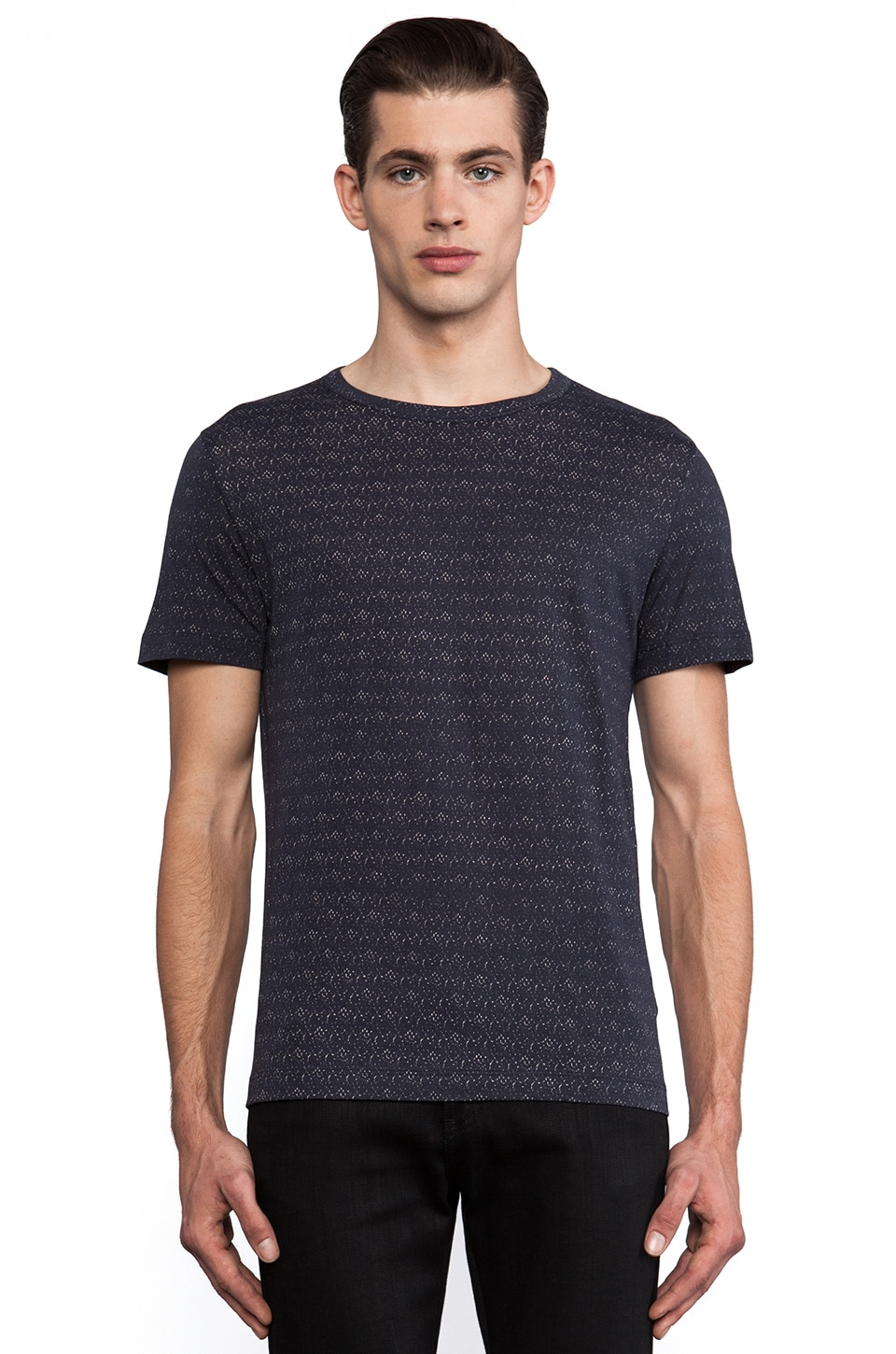 Theory Andrion Printed Tee in Eclipse