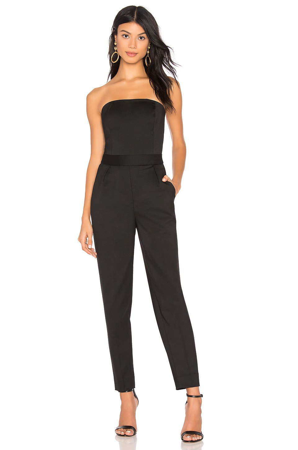 City Strapless Tux Wool Skinny-Leg Jumpsuit in Black