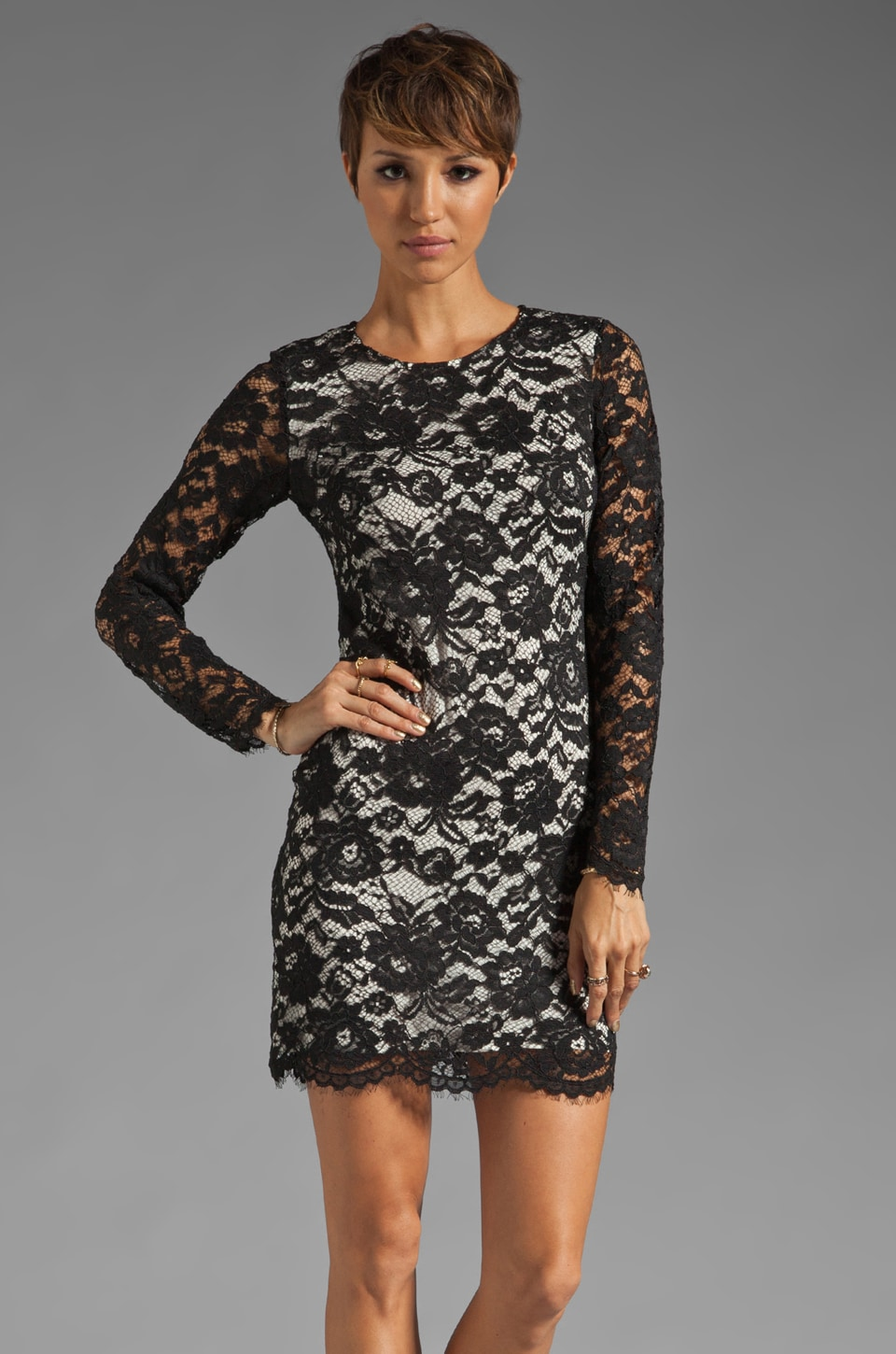 Theory Galician Marique Floral Lace Dress in Black