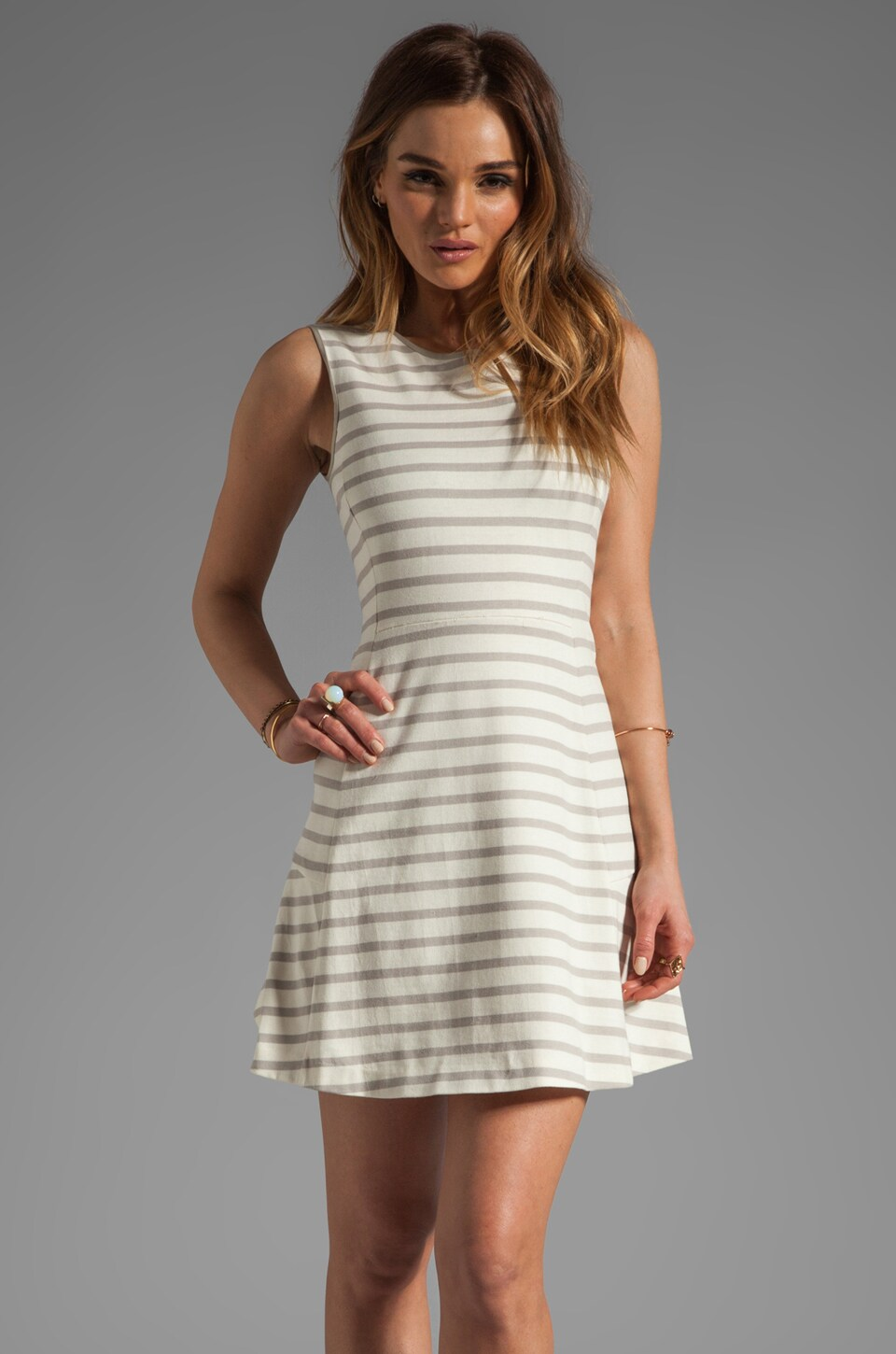 Theory Nyos Nikay B Striped Dress in Ivory/Warm Pebble