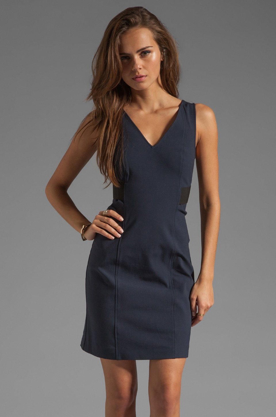 Theory New Recovery Quanda Nylon Bistretch Dress in Dark Navy