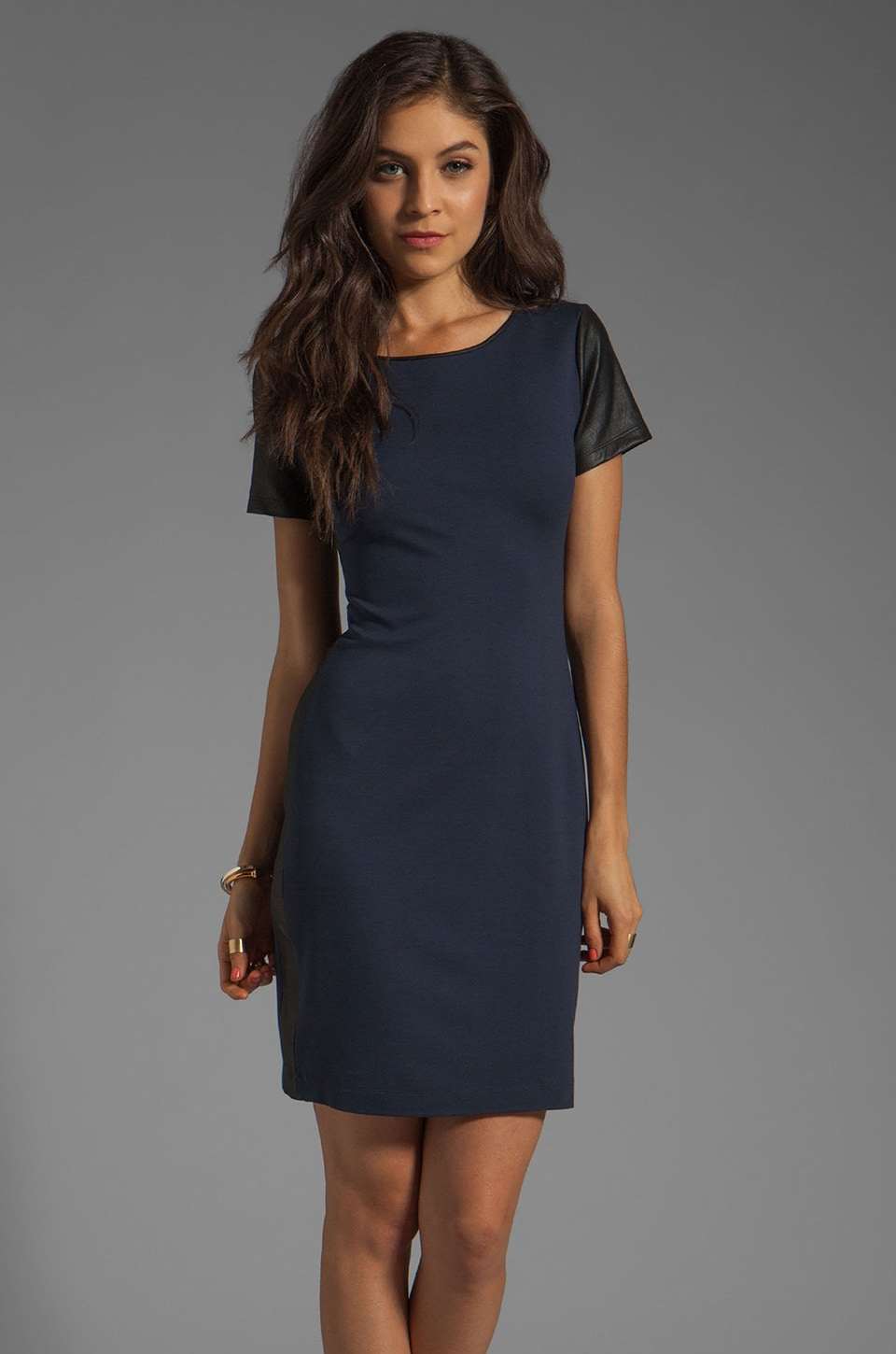 Theory Pryor Leilana Ponti Leather Combo Dress in True Navy