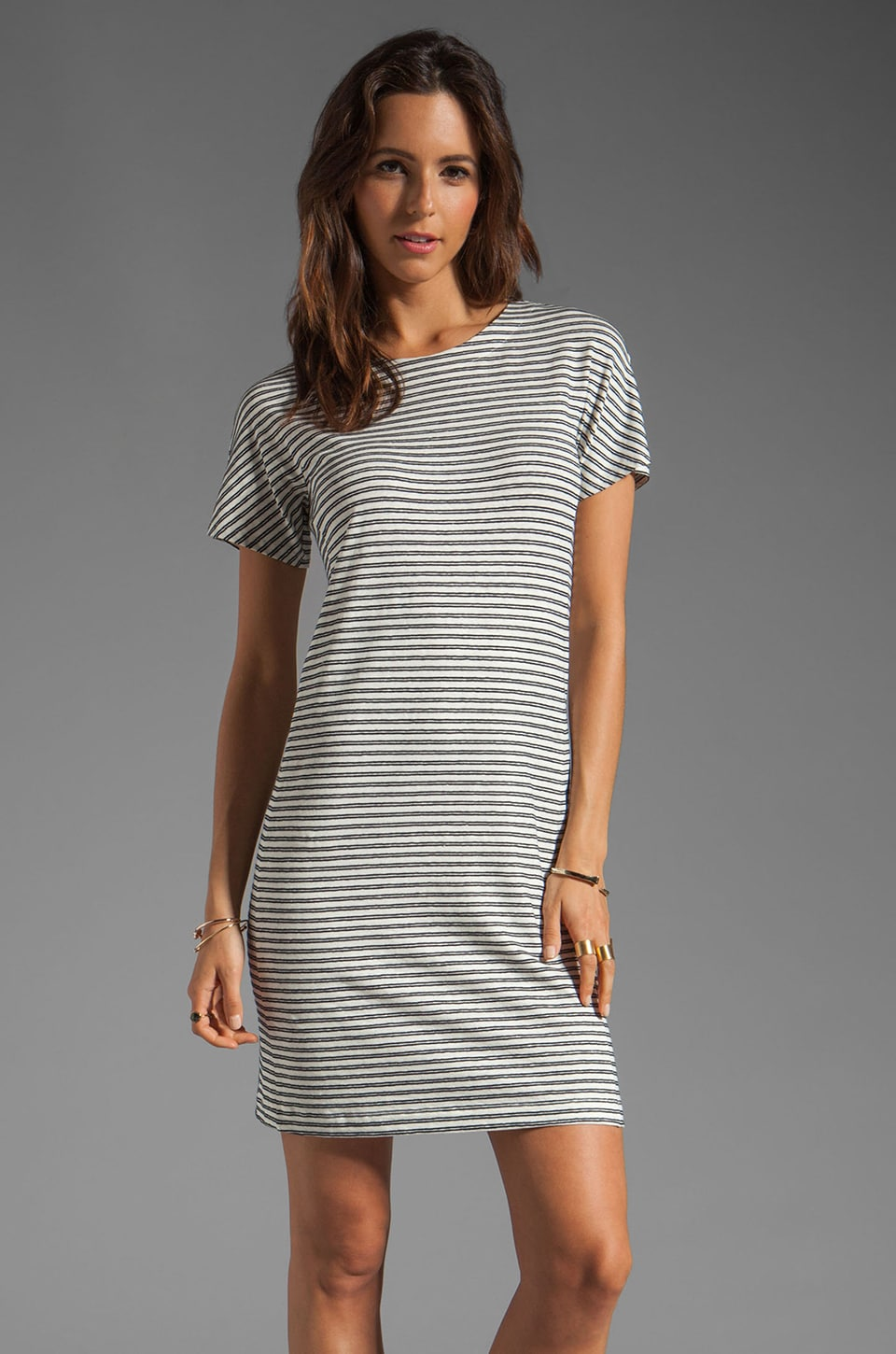 Theory Meru Adiany B Striped Jersey Dress in White/Deep Navy
