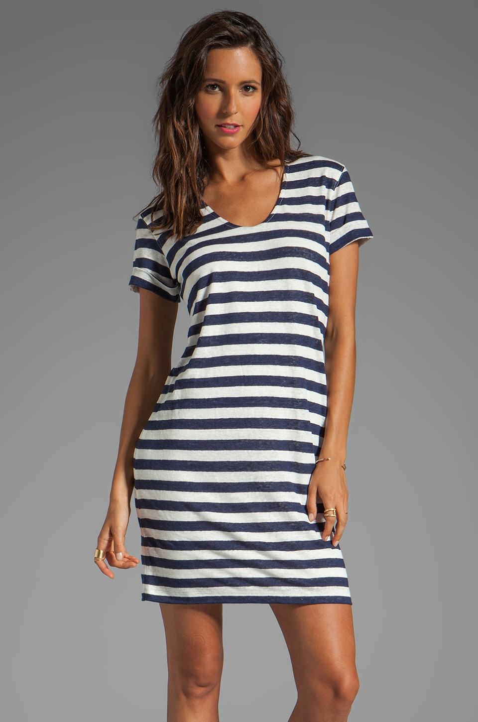 Theory Karelo L Dress in Navy/Ivory