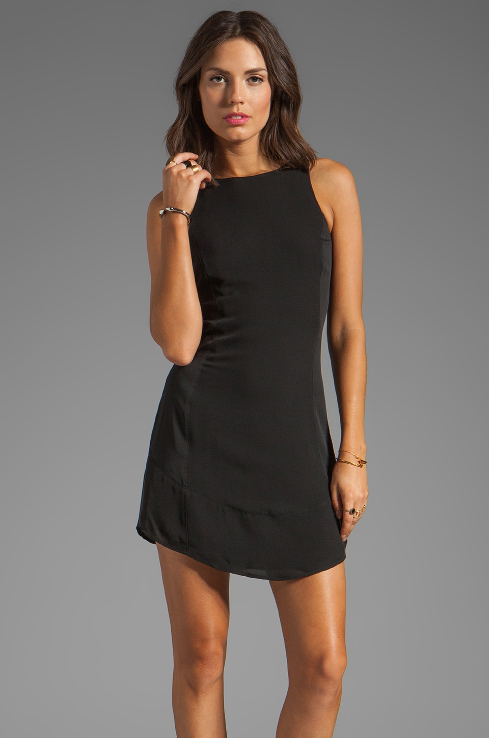 Theory Oloza Silk Dress in Black