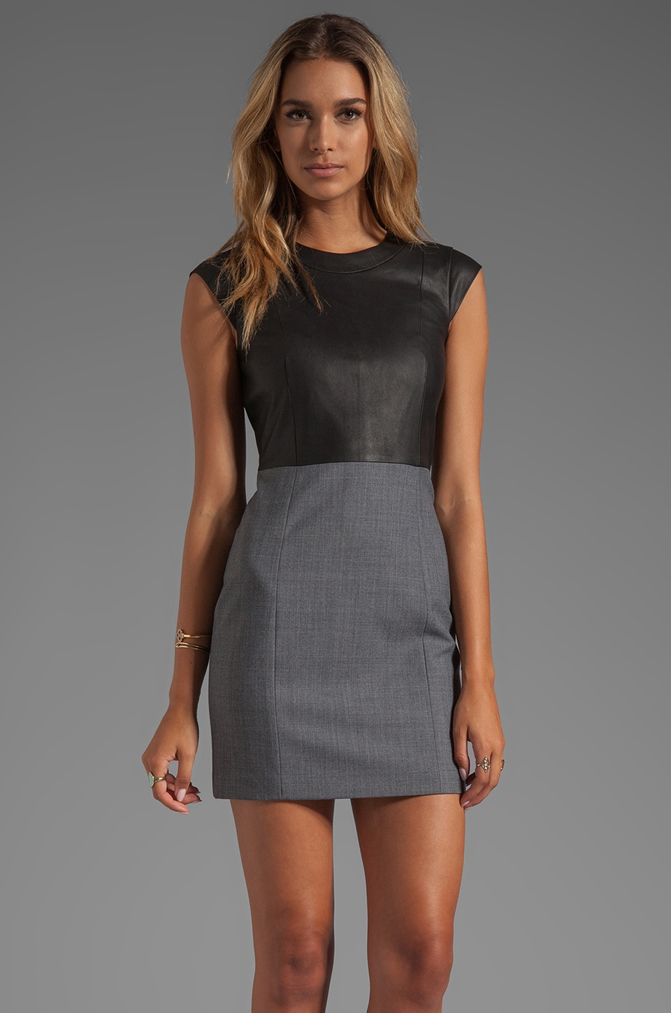 Theory Orinthia C Dress with Leather & Black in Charcoal