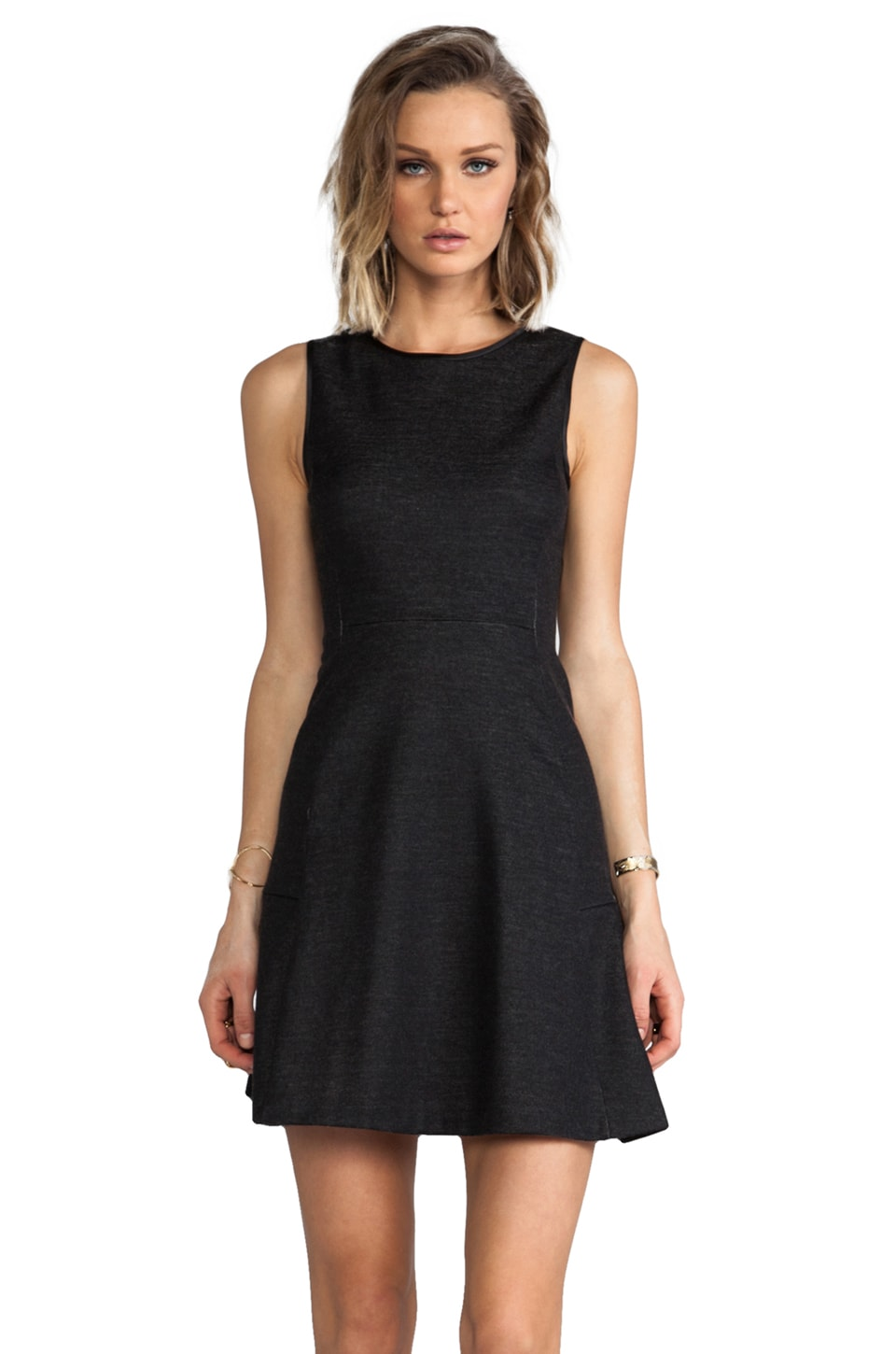 Theory Nikay Wool Blend Dress in Dark Charcoal