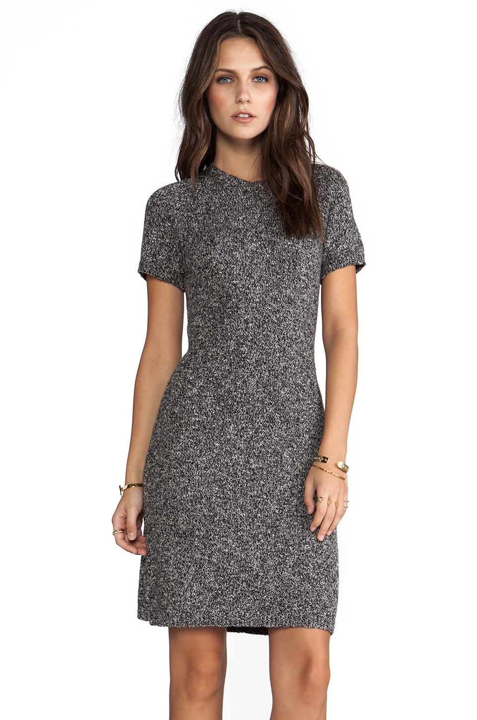 Theory Cecile B Boucle Dress in Black Tweed