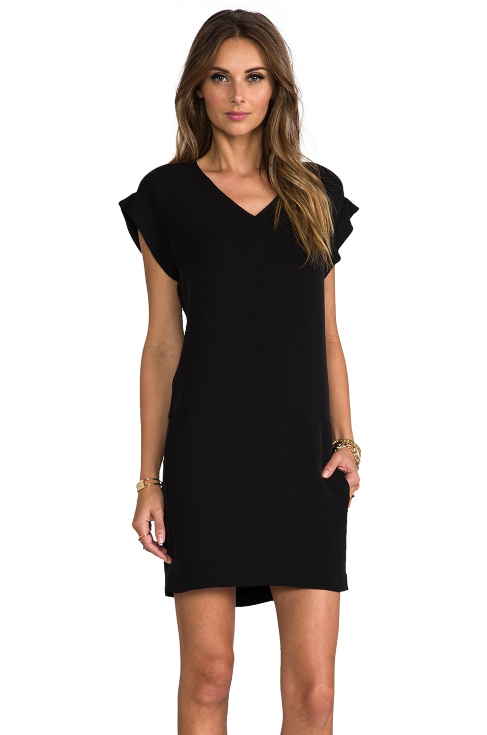 Theory Double Georgette Gydana Dress in Black