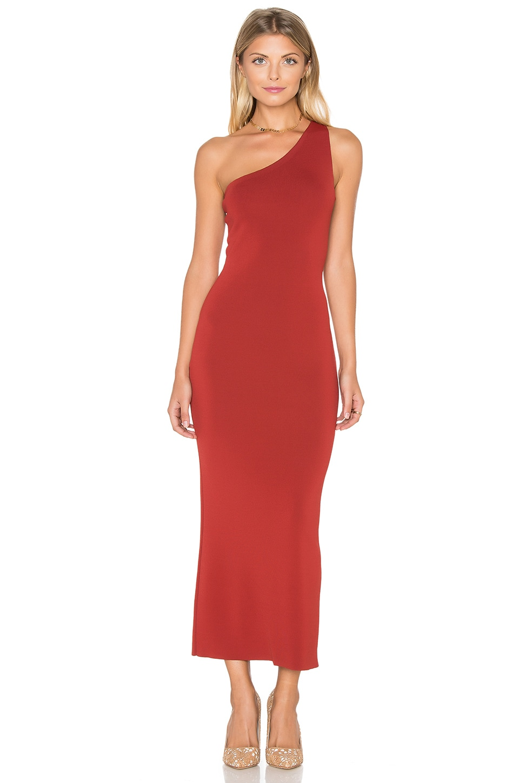 Theory Yuleena Midi Dress in Red Oak | REVOLVE