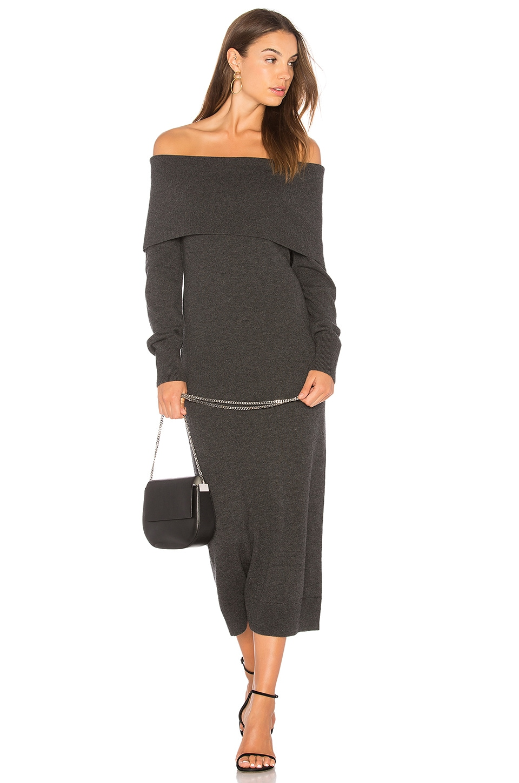 Theory Womens Merino Wool One Shoulder Sweaterdress