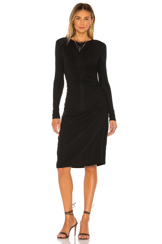 Theory Long Sleeve Gather Waist Dress in Black