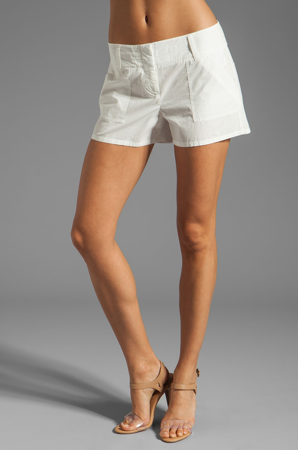 Theory Valence Lesia Poplin Shorts in White