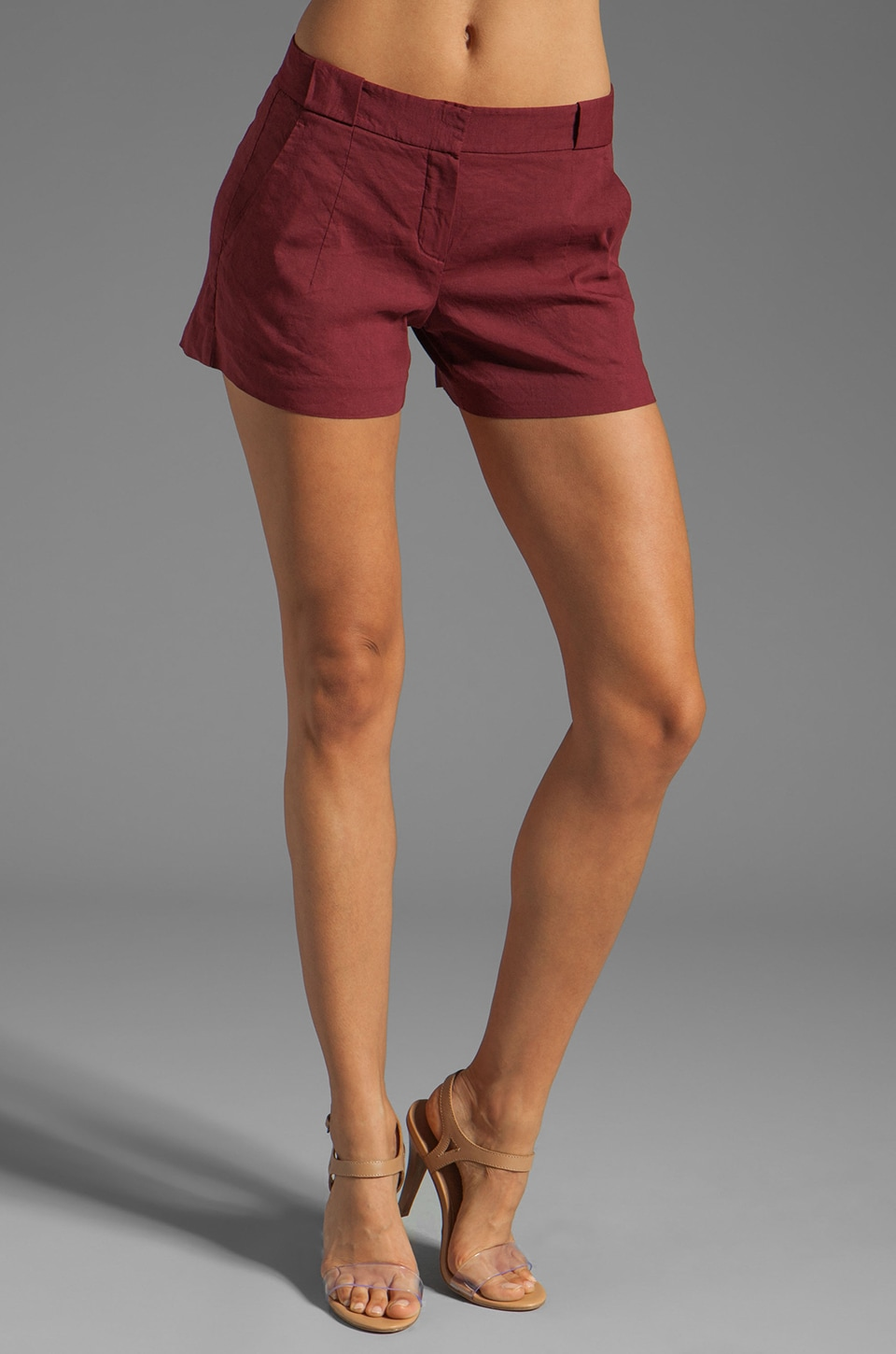 Theory Crunch Roushy L Linen Shorts in Mahogany Red
