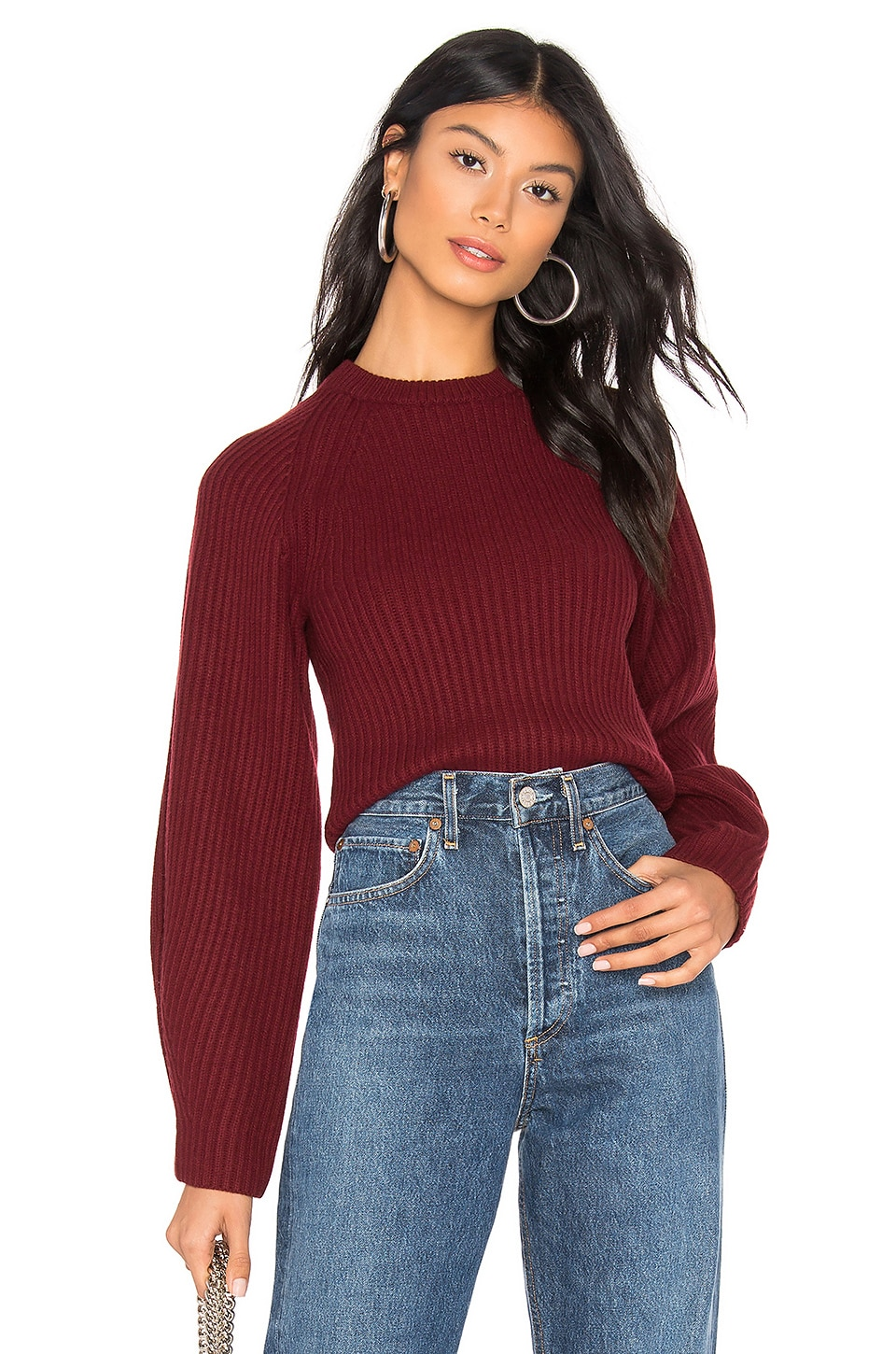 Theory Sculpted Sleeve Crew Neck Sweater in Deep Mulberry