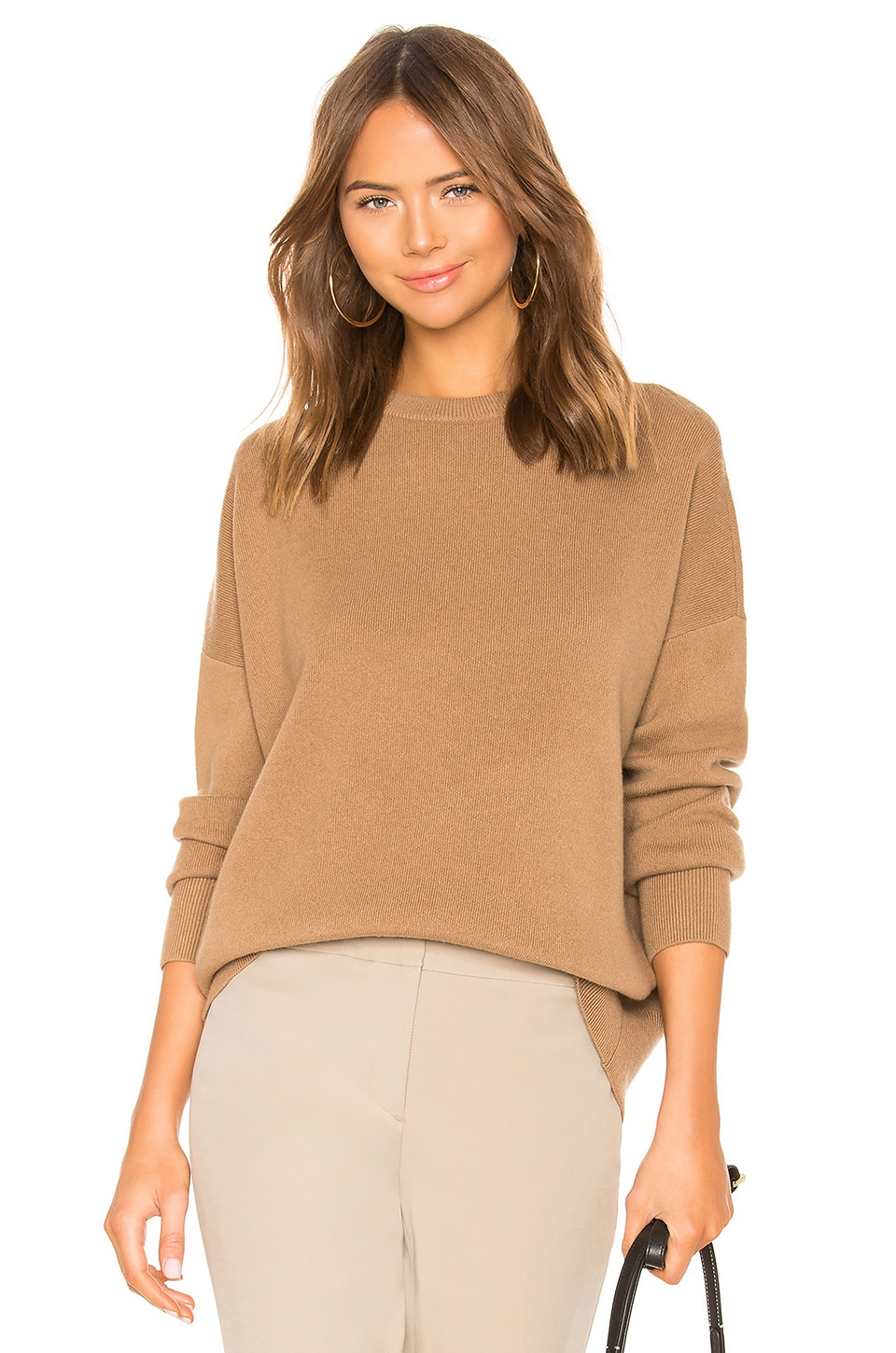 Theory Relaxed Drop Shoulder Sweater in Beige Canvas
