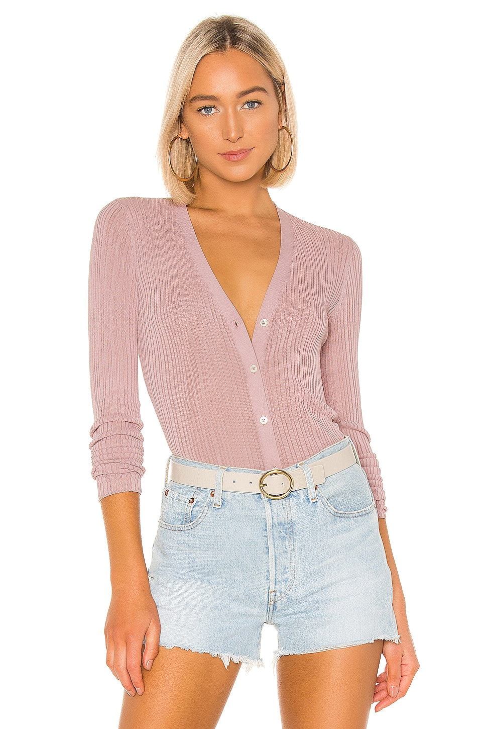 Theory Pointelle Cardigan in Dark Lilac