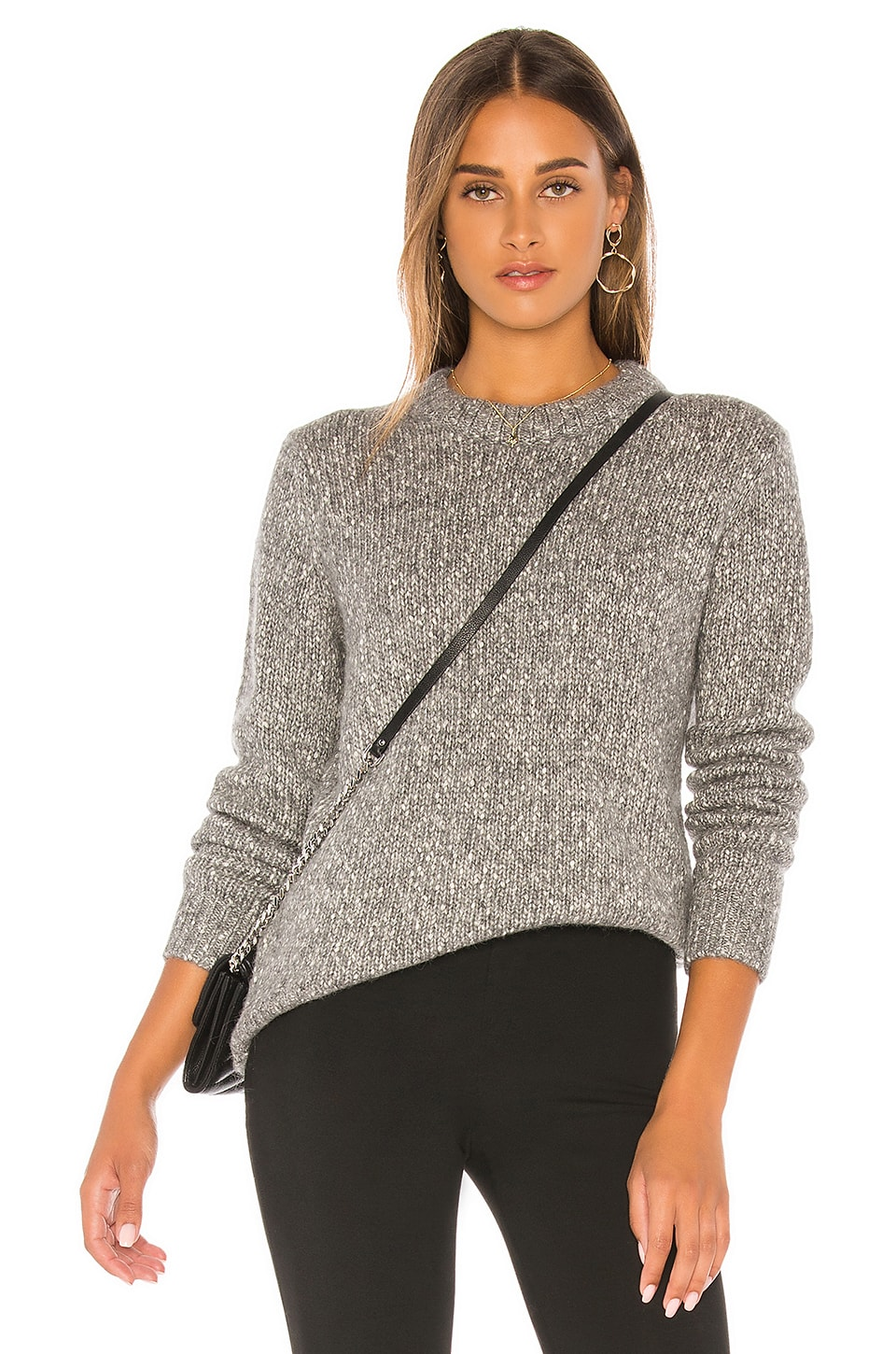 Theory Speckled Tweed Crew Sweater in Medium Heather Grey