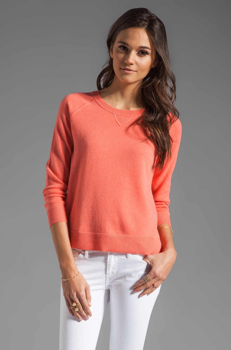 Theory Cashmere Abner C Sweater in Coral