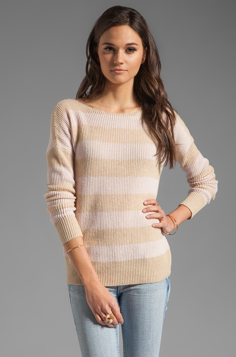 Theory Cashmere Jilliane S Striped Sweater in Floret/Oatmeal
