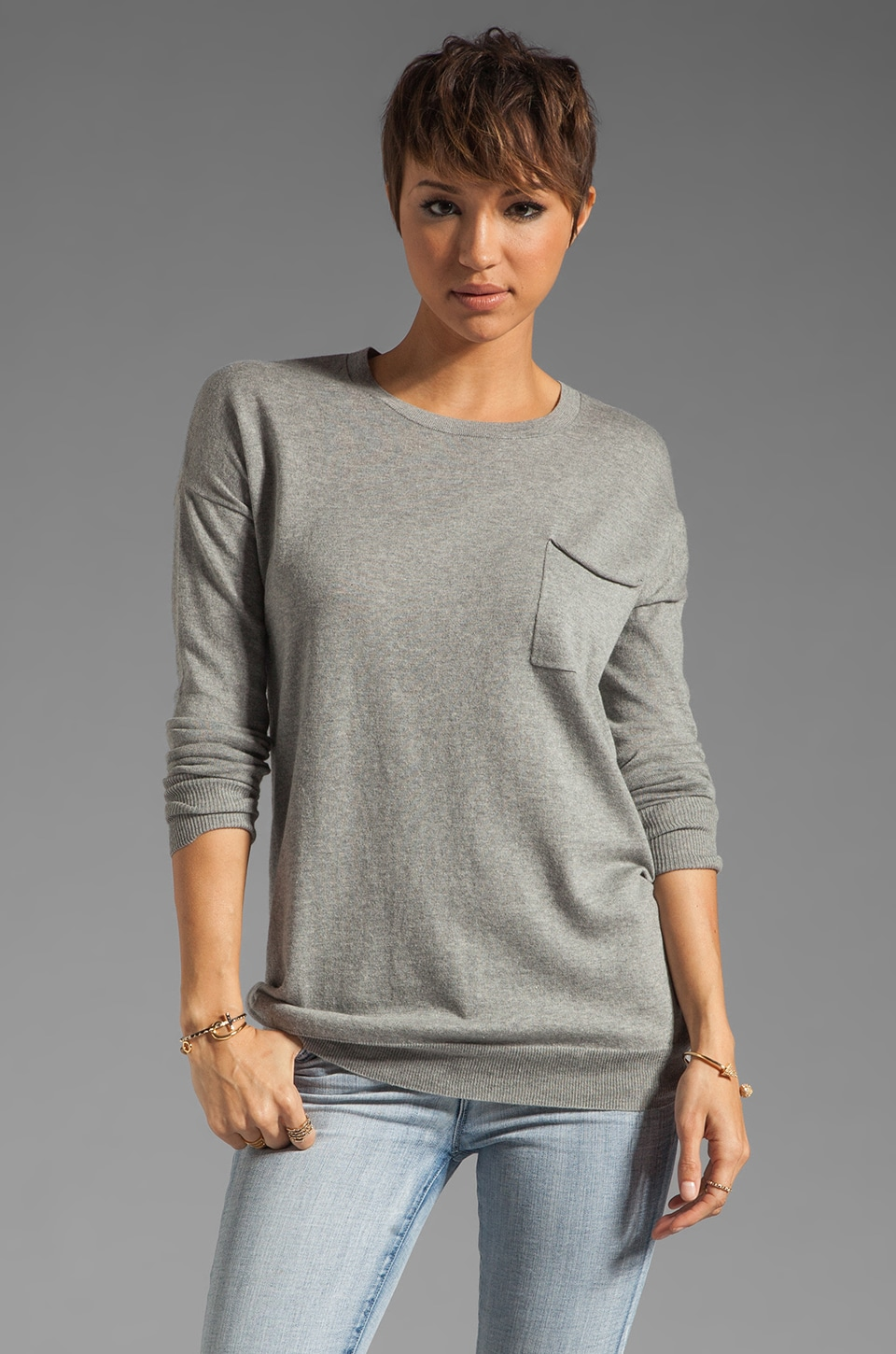 Theory Cashmere Blend Tollie Pocket Sweater in Clear Heather
