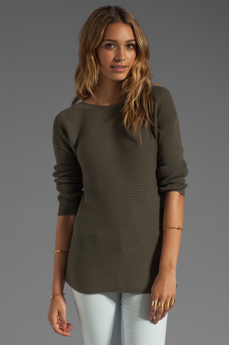 Theory Cotton Cashmere Lorinna Pullover in Khaki Green