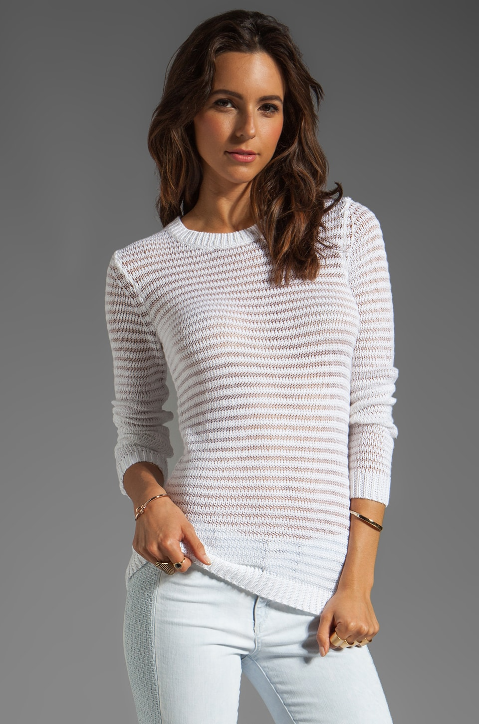Theory Meander Camille B Blended Pullover in White/White