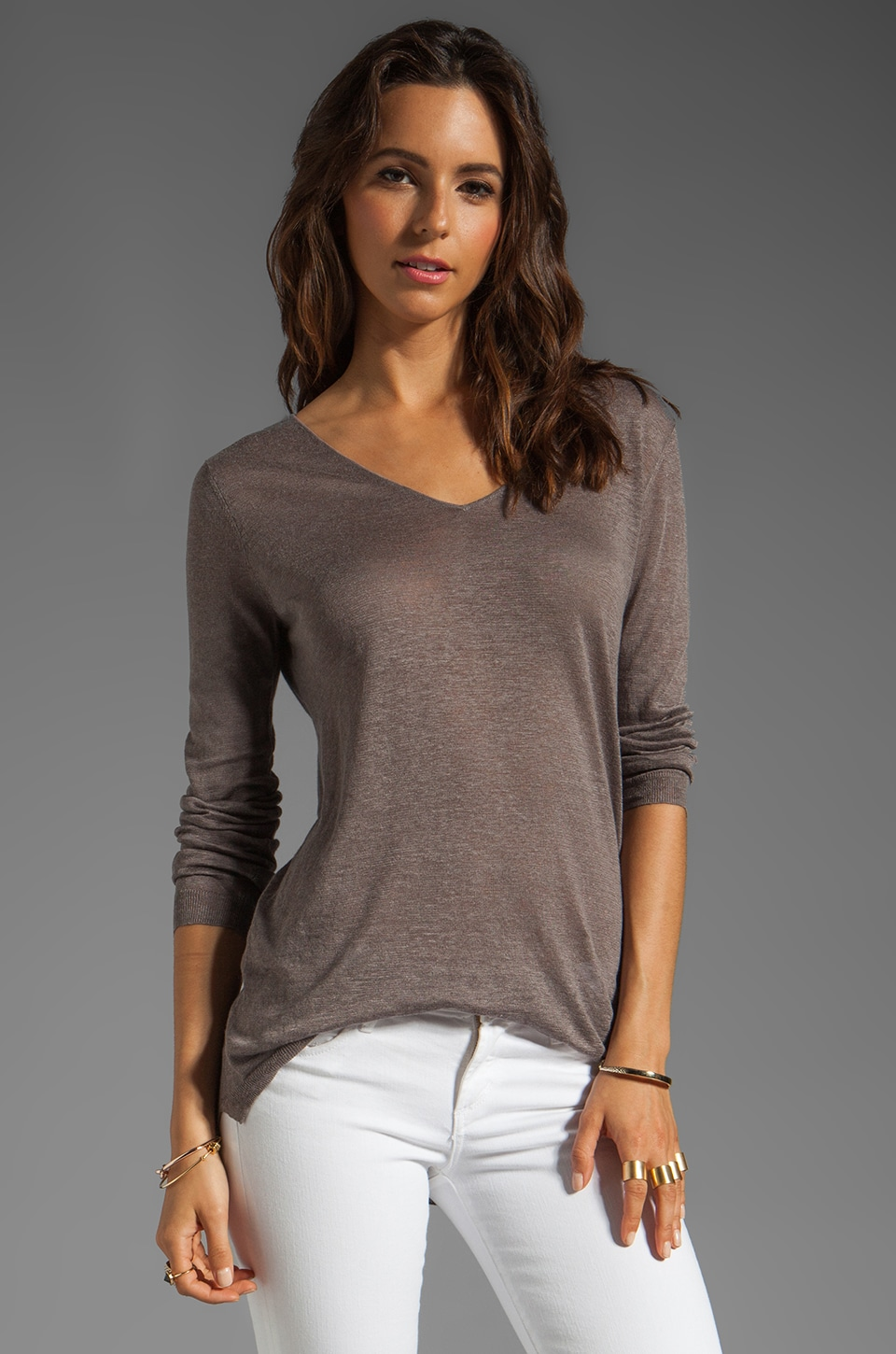 Theory Sag Harbor Madiza Pullover in Grey Mink