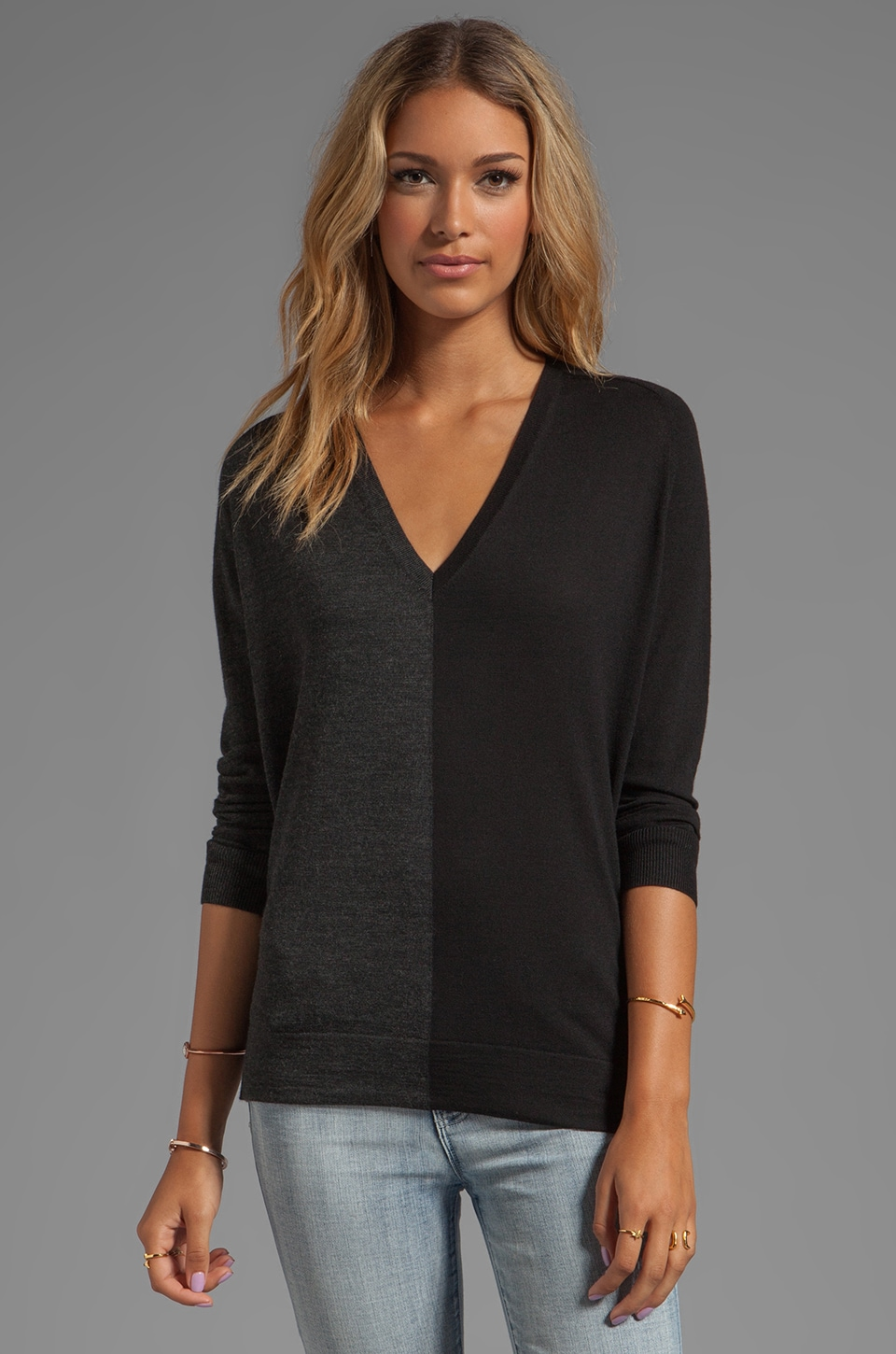 Theory Adrianna CB Sweater in Charcoal/Black