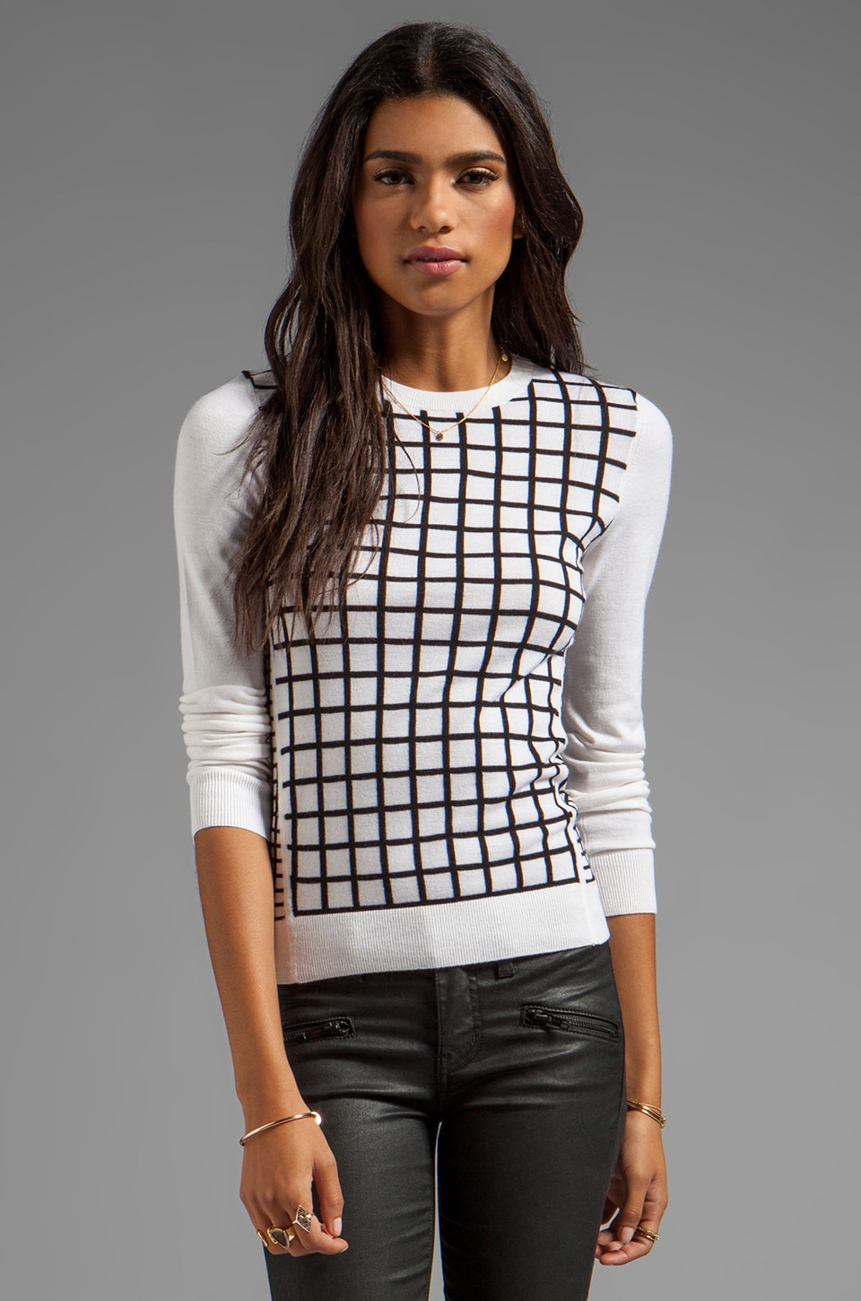 Theory Tommie FS Sweater in Ice White/Black