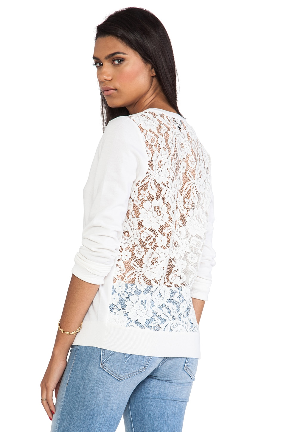 Theory Adrianna Lace Back Sweater in Ice White