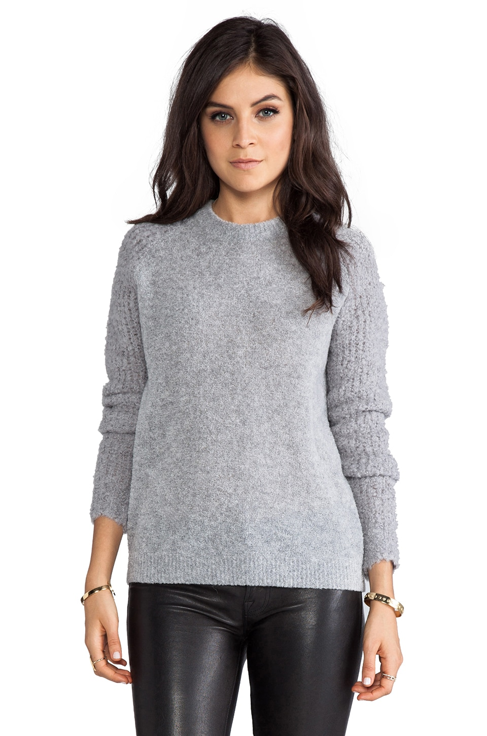 Theory Delanna Sweater with Boucle Sleeves in Frost Grey