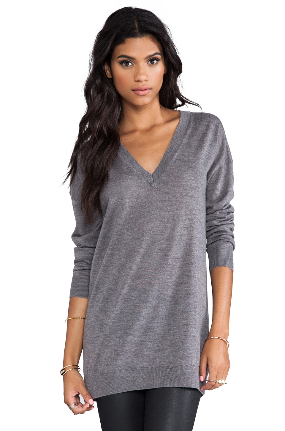 Theory Audrin Oversized V-Neck Sweater in Dark Charcoal
