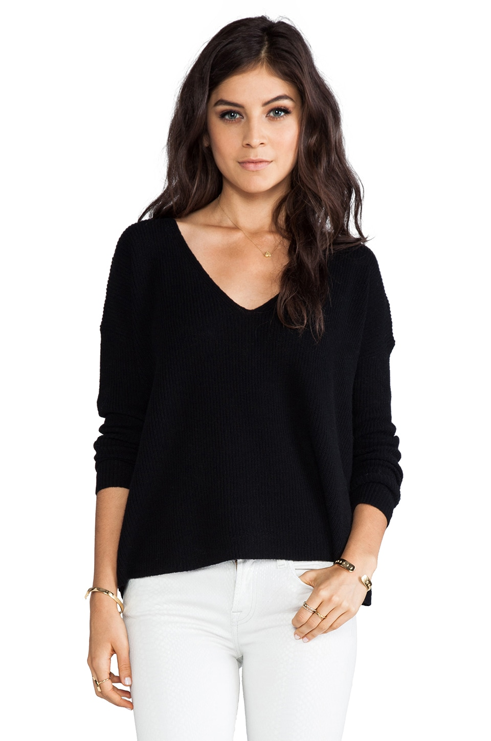 Theory Randelle V-Neck Sweater in Black