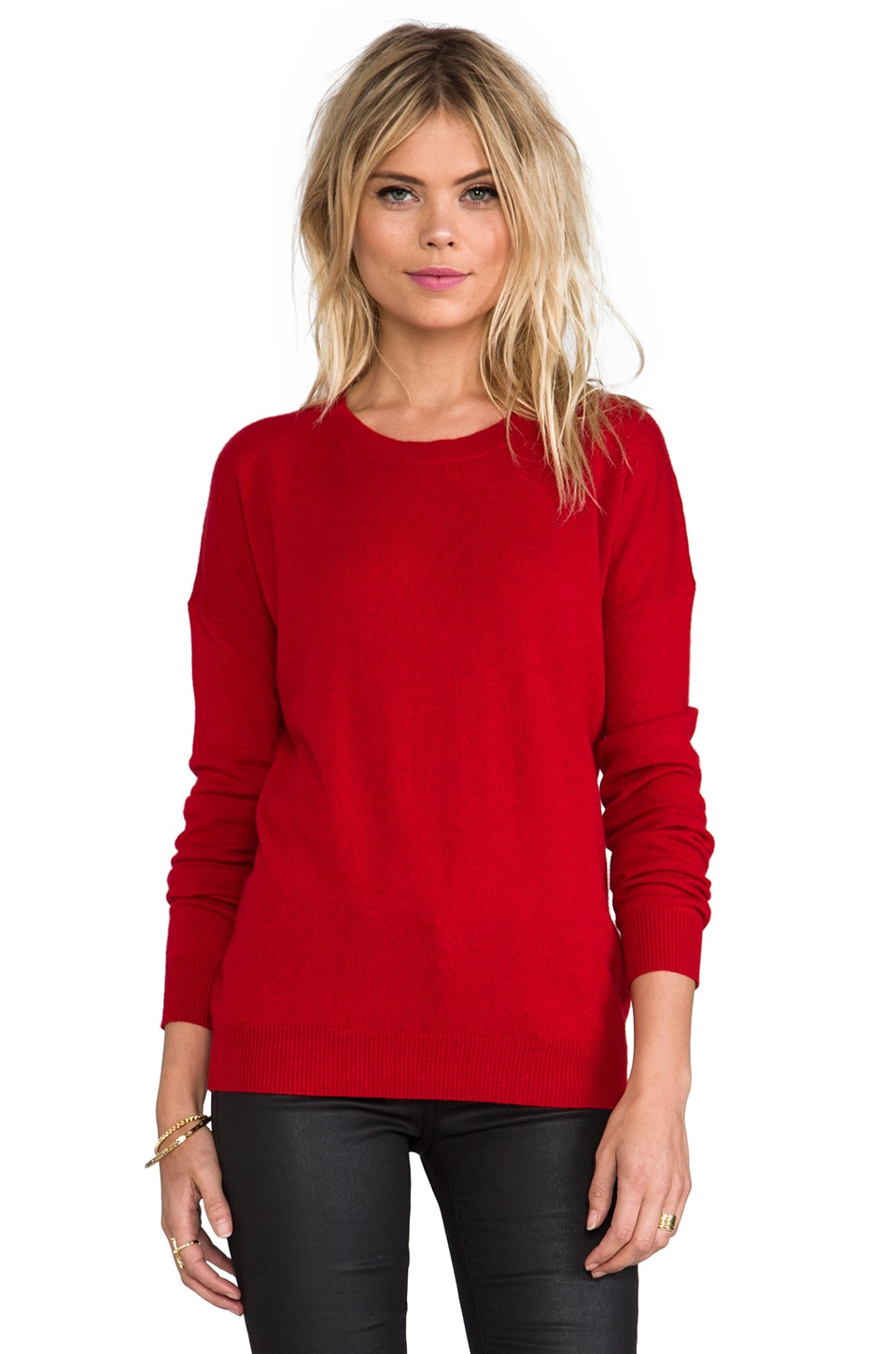 Theory Cashmere Tollie Sweater in Fiery Red