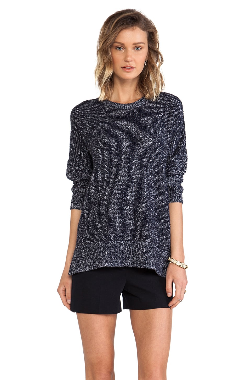 Theory Hesterly Short Sleeve Sweater in Armada Blue & Ivory