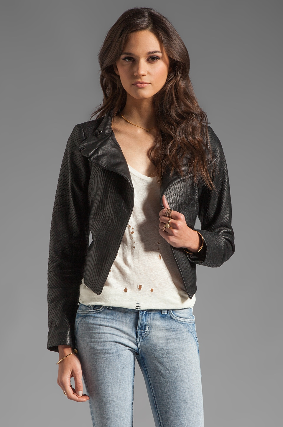 Theory Thoroughbred Leather Embry Jacket in Black