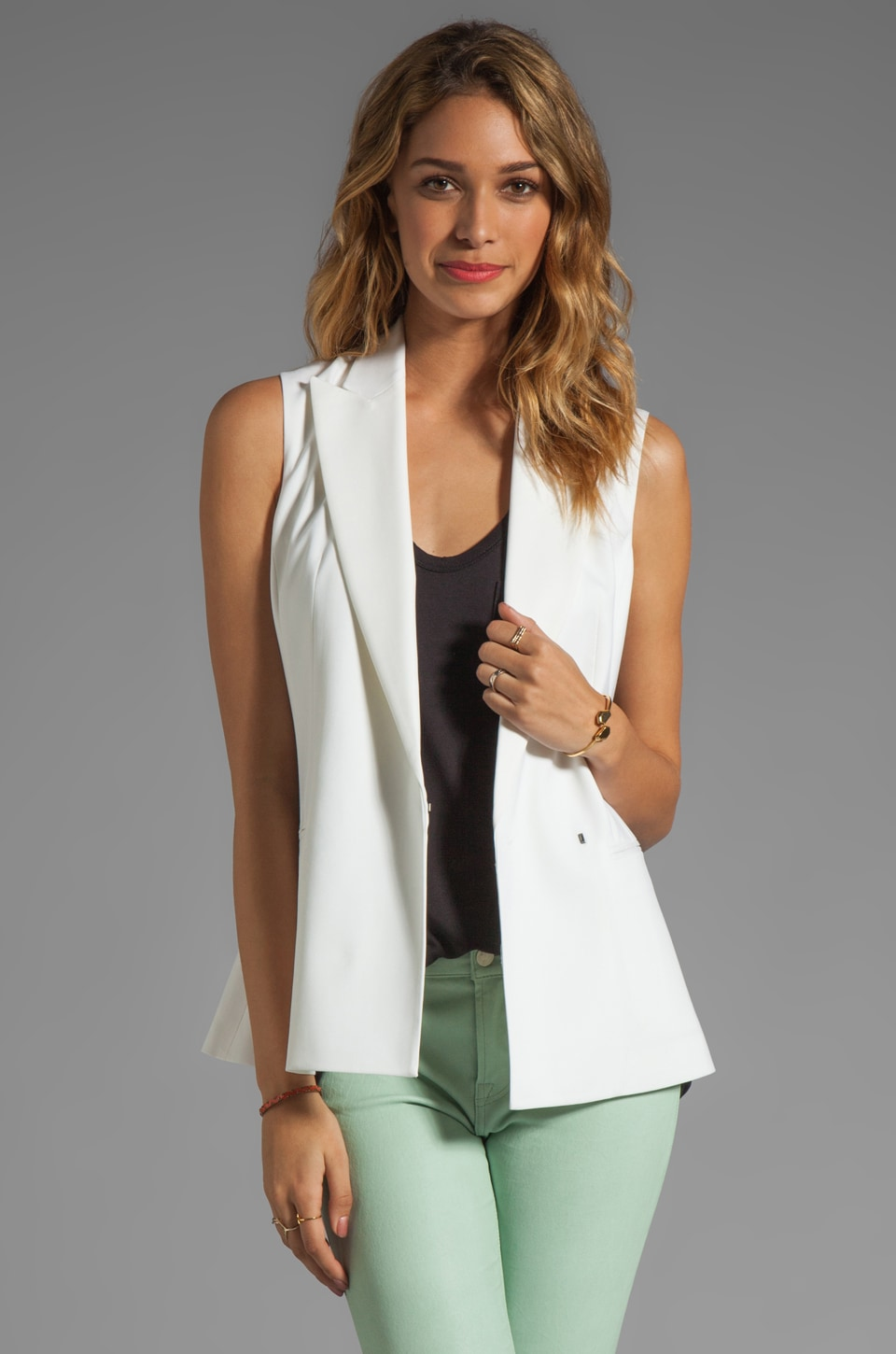 Theory Caledon Annea Wool Twill Vest in White