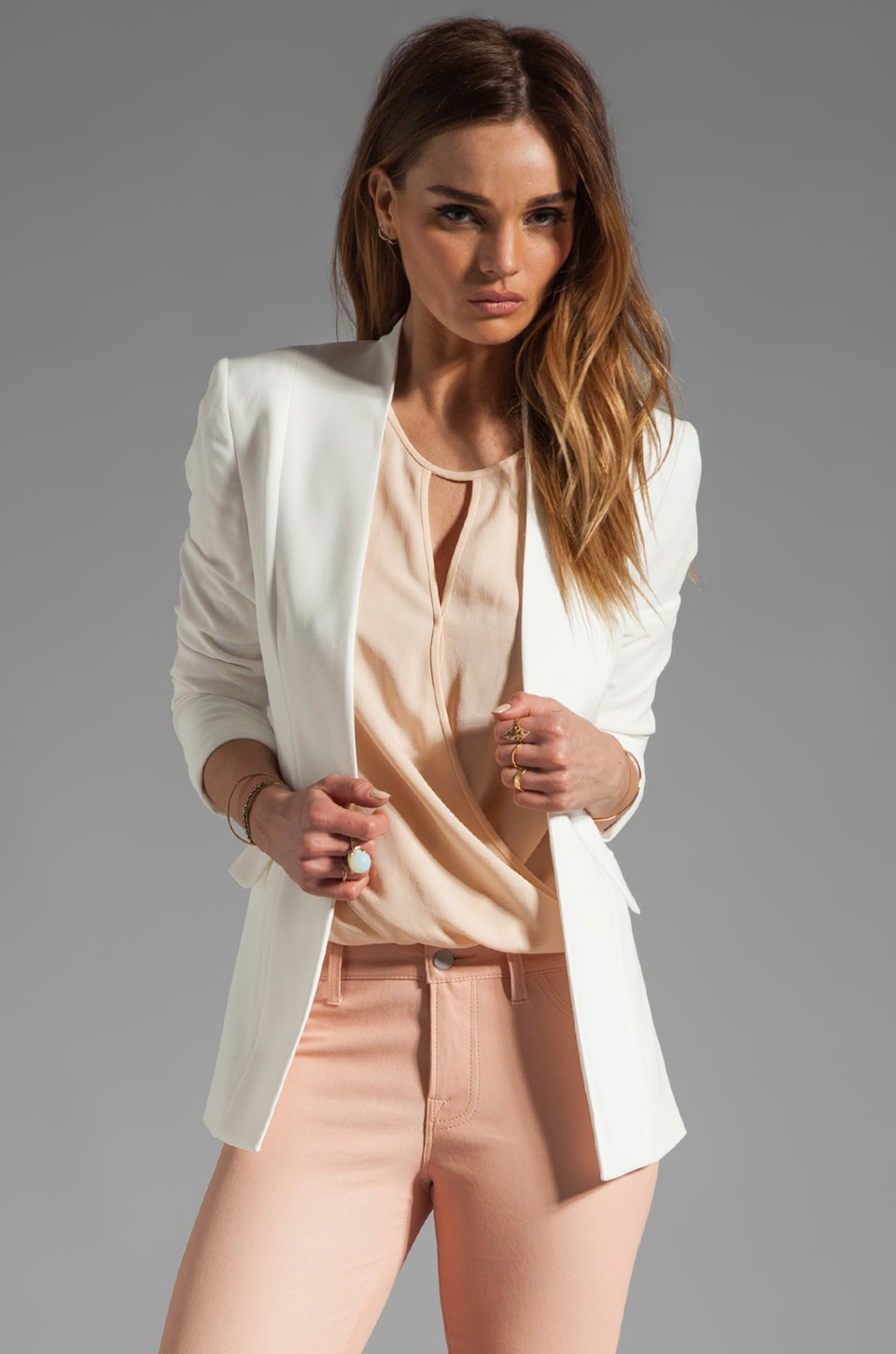 Theory Rokel Light Tivona Crepe Jacket en Blanc