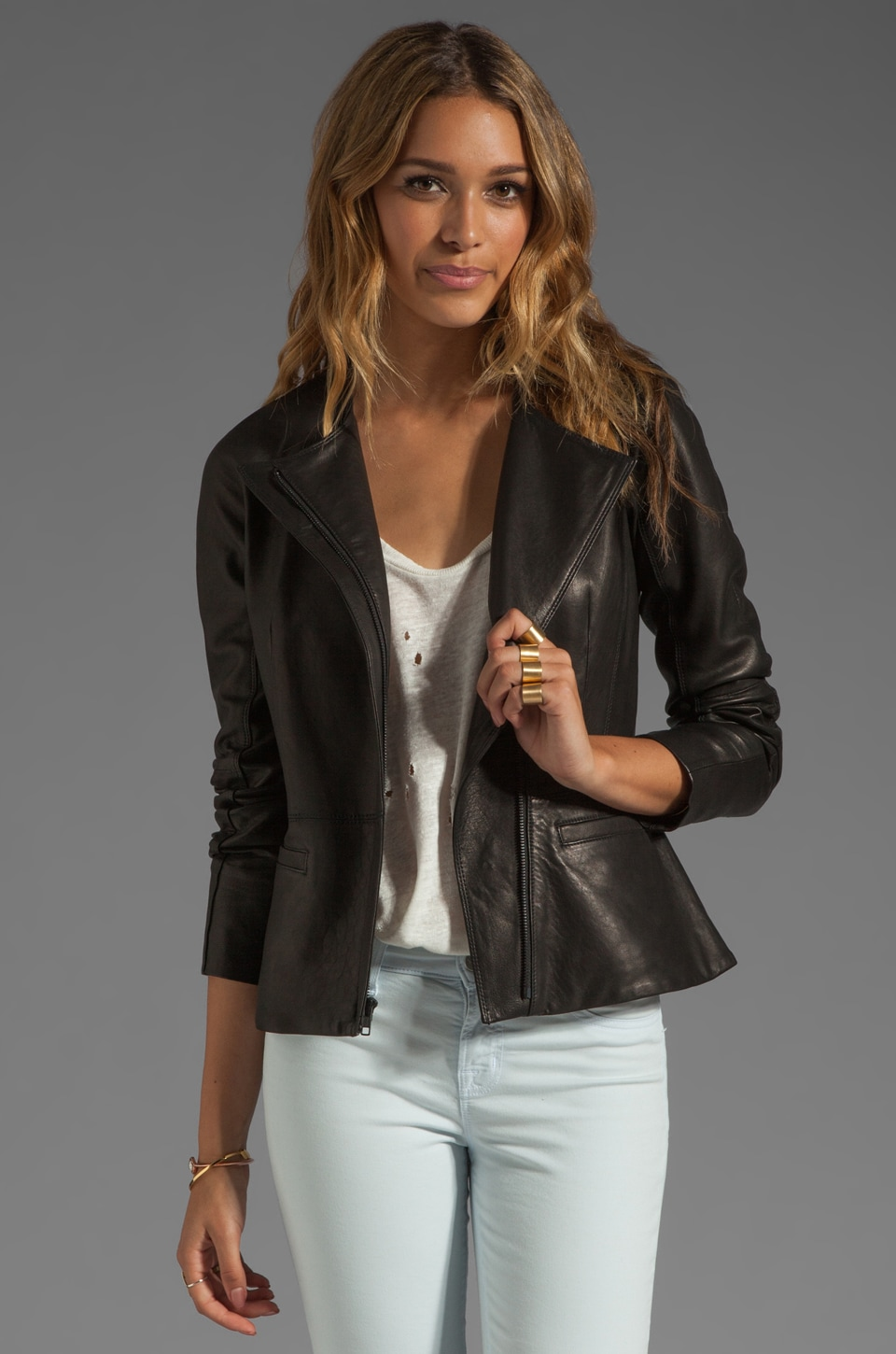Theory Ford Enora Lamb Leather Jacket in Black