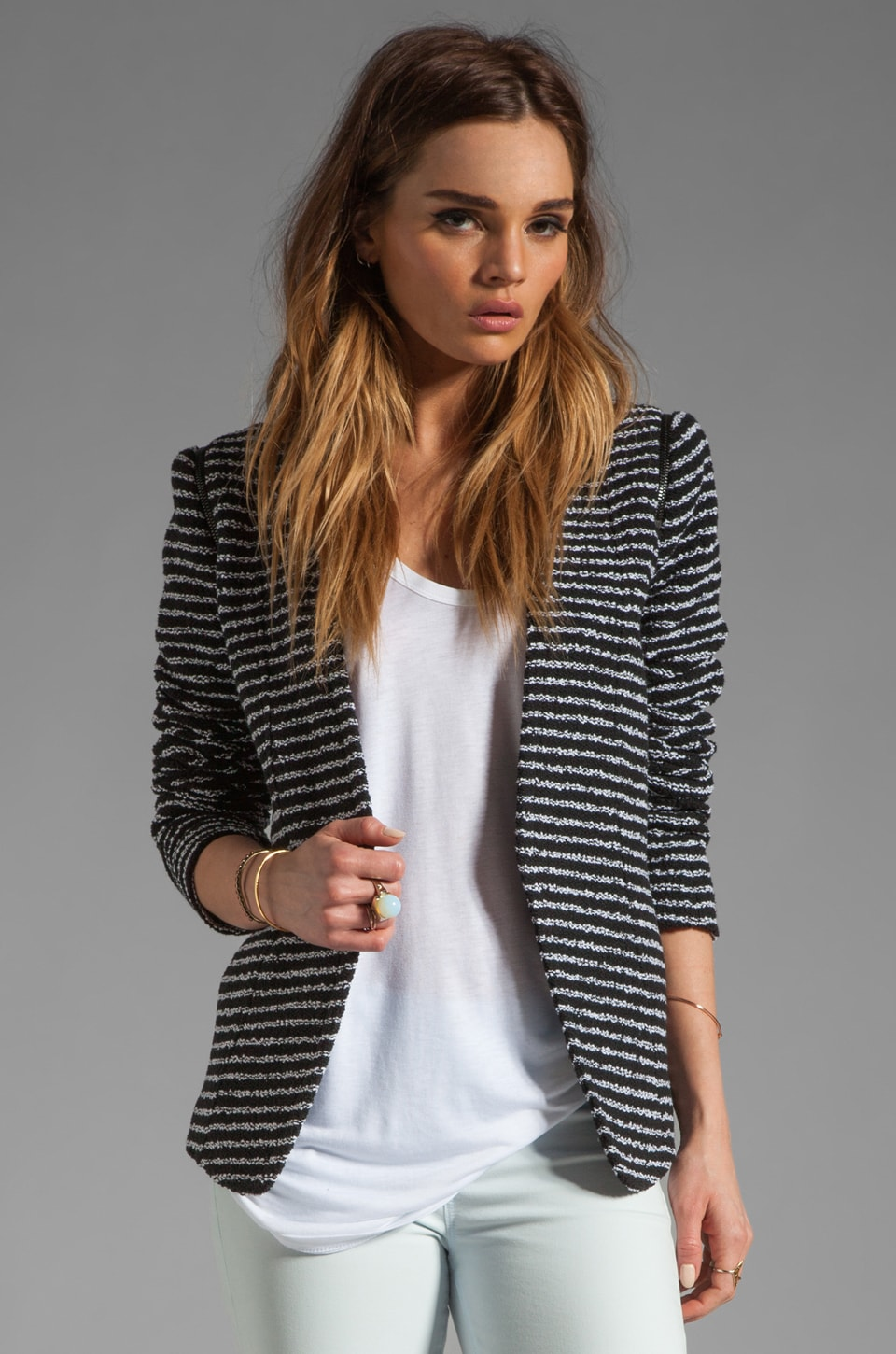 Theory Purposeful Stripe Yaisa Z Jacket in Black/White