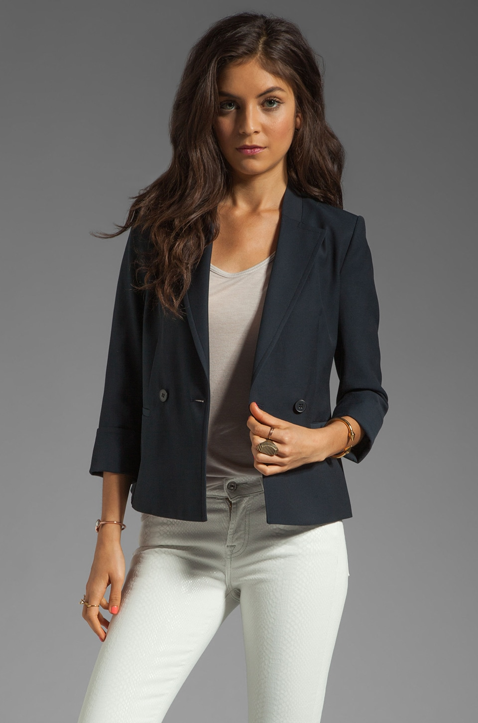 Theory Jubilee Bastian Structured Cotton Blazer in Navy