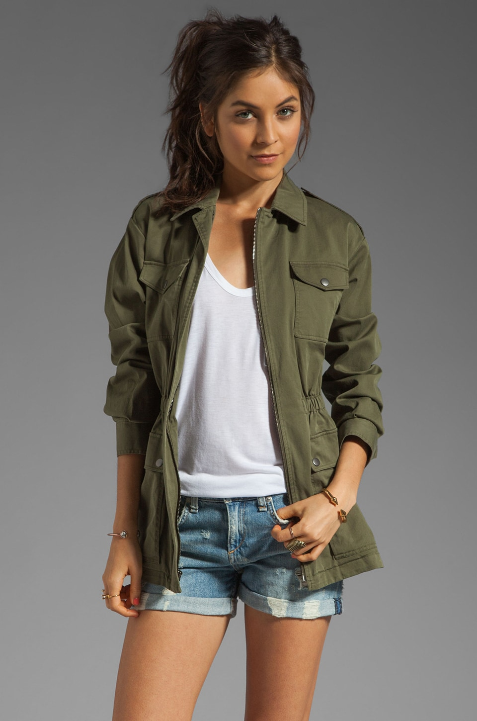 Theory Levian Military Jacket in Desert Green